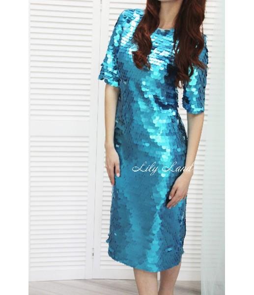 Комплект платьев крупная пайетка, цвет бирюза