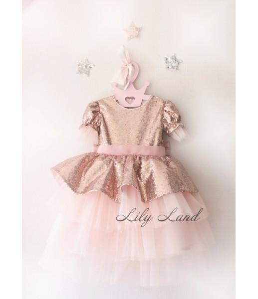 Детское платье Нинель, цвет бронза и персик