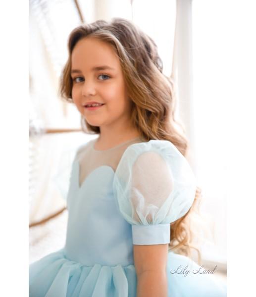 Детское нарядное платье Алиса, цвет голубой