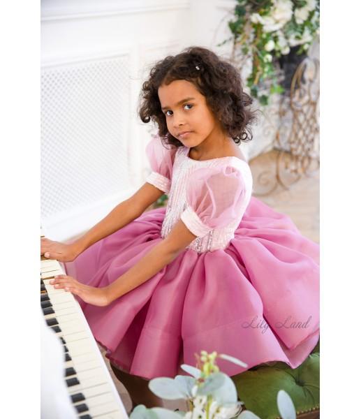 Детское нарядное платье Алиса, цвет чайная роза с пайеткой