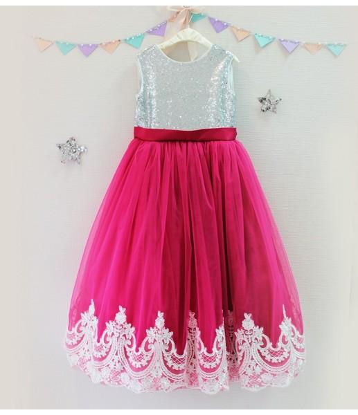 Детское платье Амели, цвет малина и серебро