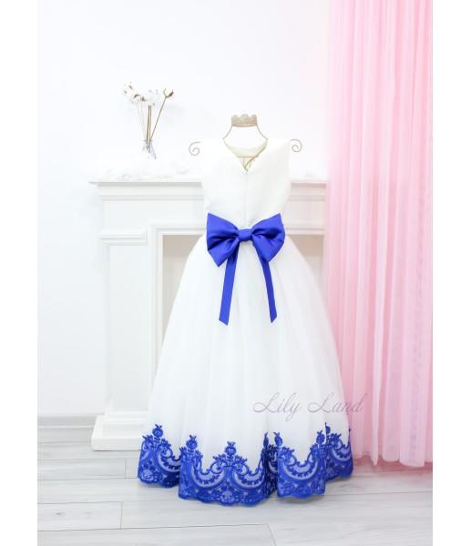 Детское платье Амели, в цвет айвори, синее кружево