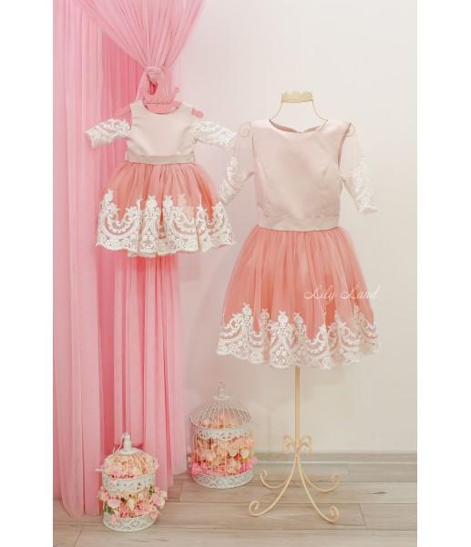 Комплект платьев Амели, цвет пудра