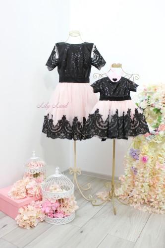 Комплект платьев Амели, цвет черный с розовой пудрой
