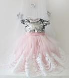 Детское платье Амели, цвет серебро и розовый