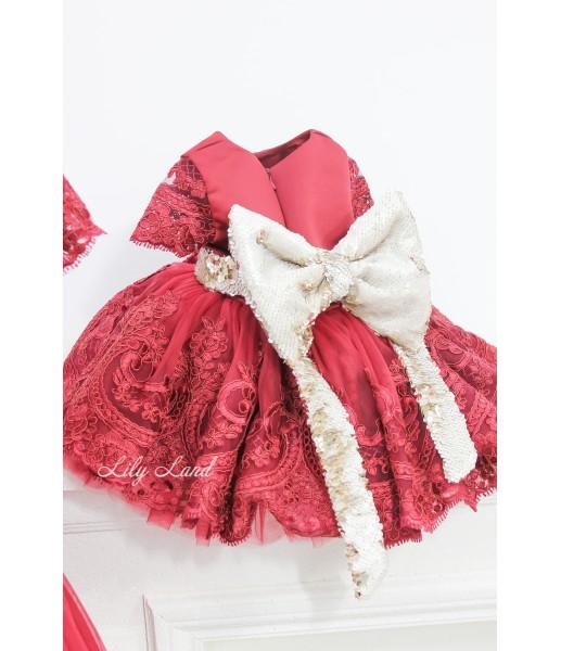Детское платье Амели,  цвет бордо с рукавом