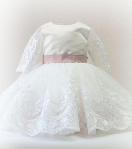 Детское платье Амели, цвет белый и пудра