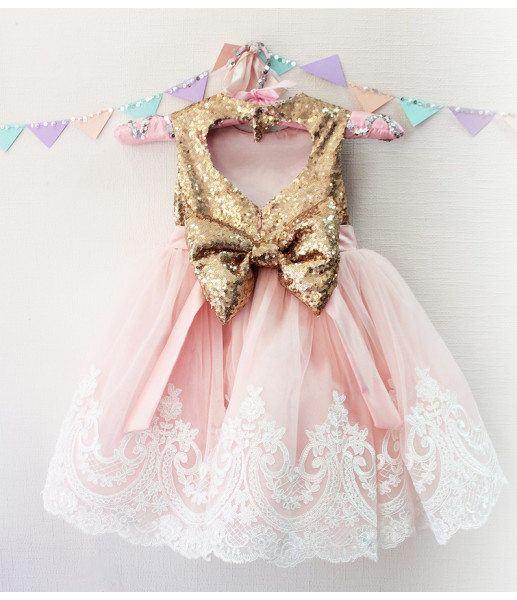Детское платье Амели, цвет розовый и золото