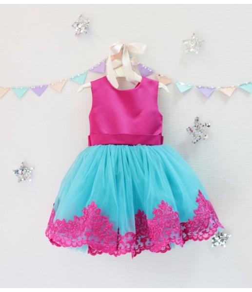 Детское платье Амели, цвет малина и аквамарин