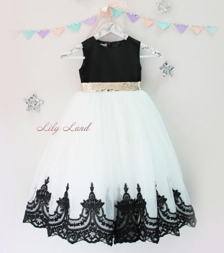 Детское платье Амели, цвет черный и белый