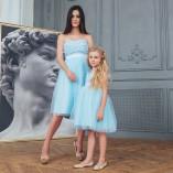 Комплект нарядных  платьев Анастасия ,с 3Д гипюром голубое