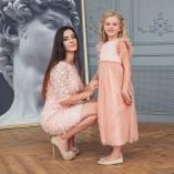 Комплект нарядных  платьев Анастасия ,с 3Д гипюром пудровое