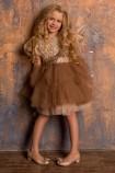 Детское нарядное платье Ариэль, цвет капучино