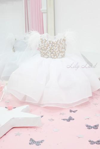 Детское нарядное платье Ариэль, цвет белый с рукавами