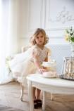 Детское нарядное платье Ариэль, цвет айвори с перьями