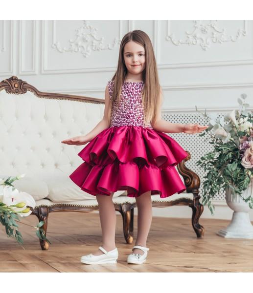 Детское нарядное платье Ариэль, цвет фуксия