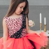Детское нарядное платье Ариэль, цвет аллый с черным