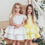 Детское нарядное платье Ариэль, цвет желтый