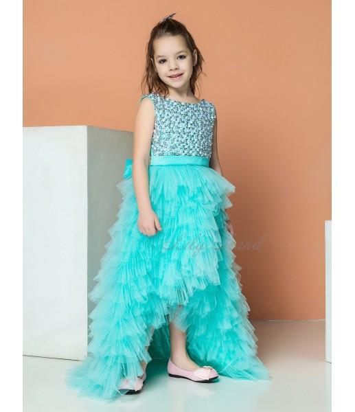 Детское нарядное платье Ариэль, цвет мята со шлейфом