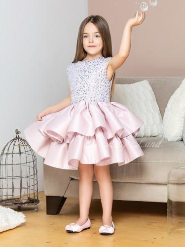 Детское нарядное платье Ариэль, цвет бледная пудра