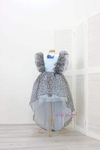 Детское нарядное платье Арин, цвет серо-голубой с анималистическим принтом