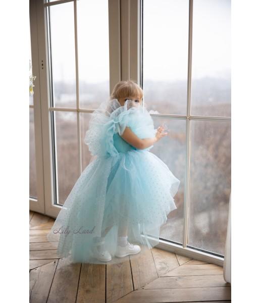Детское нарядное платье Арин, цвет голубой с органзой в горох