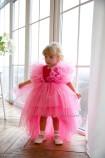 Детское нарядное платье Арин, цвет барби с органзой в горох