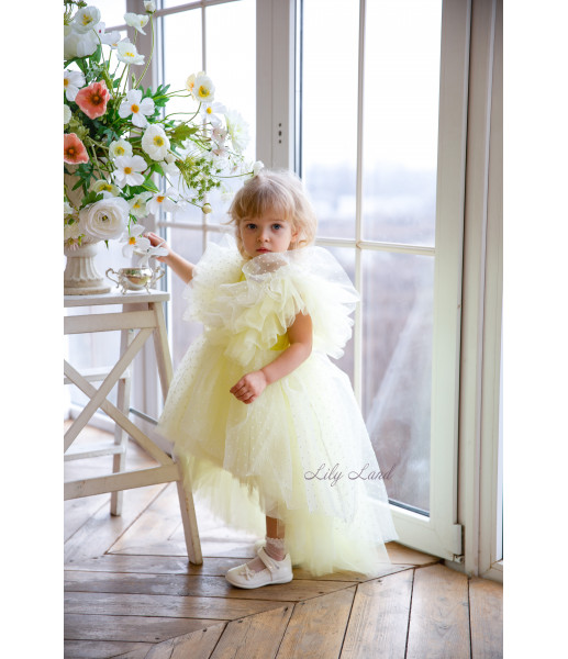 Детское нарядное платье Арин, цвет желтый с органзой в горох