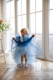 Детское нарядное платье Арин, цвет синий с органзой в горох