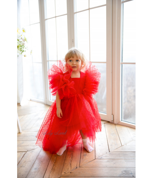 Детское нарядное платье Арин, цвет красный с органзой в горох