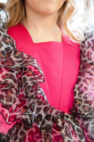Детское нарядное платье Арин, цвет барби с анималистическим принтом