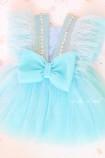 Детское нарядное платье Арин, цвет голубой с камнями и перьями