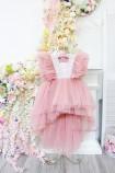 Детское нарядное платье Арин, цвет пудра с отделкой из жемчуга