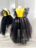 Детское нарядное платье Арин, цвет черный с желтым