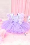 Детское нарядное платье Арин, цвет лаванда с камнями и перьями