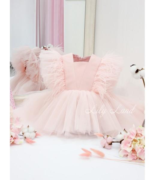 Детское нарядное платье Арин, цвет пудра с перьями