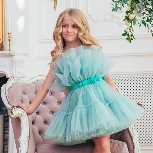 Детское нарядное платье Барби, цвет минт