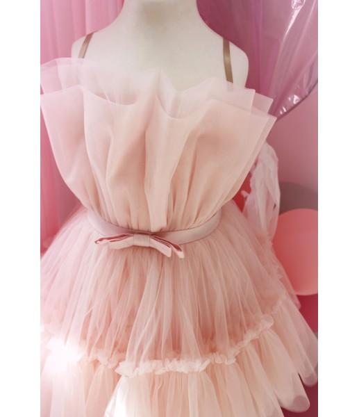 Детское нарядное платье Барби, цвет розовая пудра
