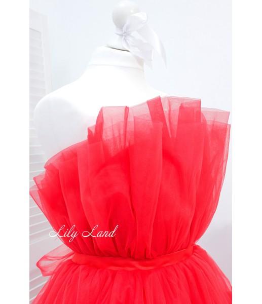 Детское нарядное платье Барби со шлейфом, цвет красный