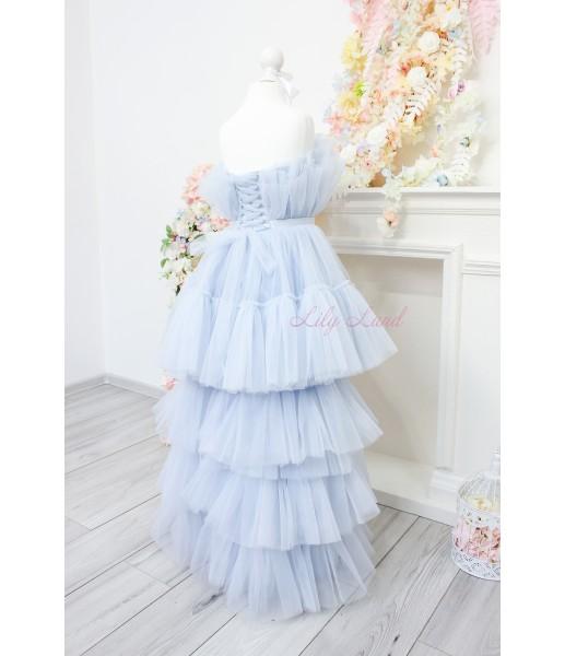 Детское нарядное платье Барби со шлейфом, цвет серо-голубой