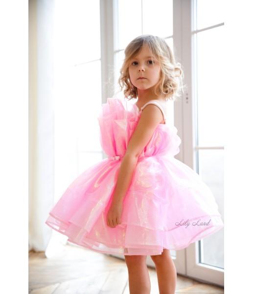 Детское нарядное платье Барби, цвет розовый из органзы