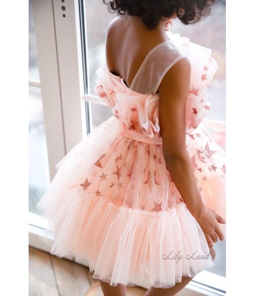 Детское нарядное платье Барби, цвет персиковый со звездами