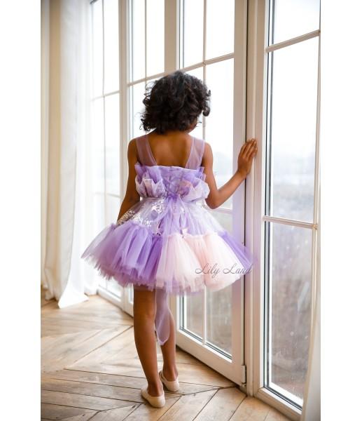 Детское нарядное платье Барби, цвет лаванда со звездами