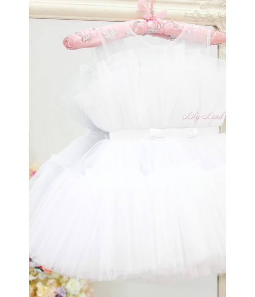 Детское нарядное платье Барби, цвет белый