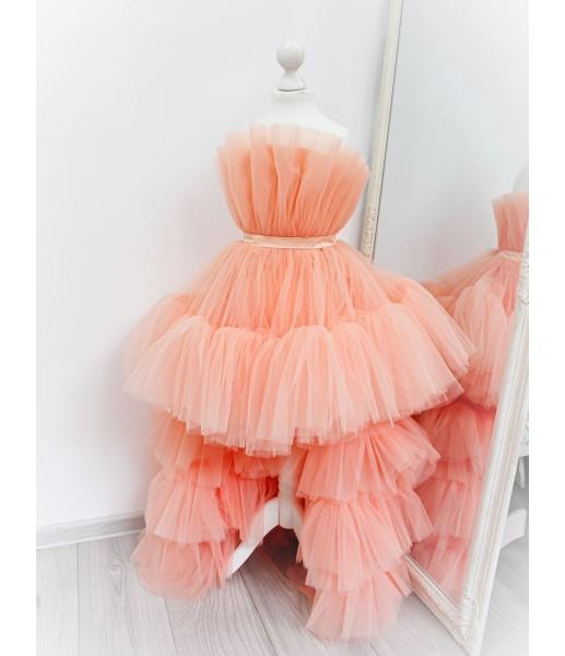 Детское нарядное платье Барби со шлейфом, цвет персик