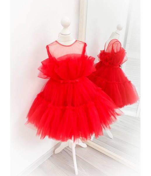 Детское нарядное платье Барби, цвет красный