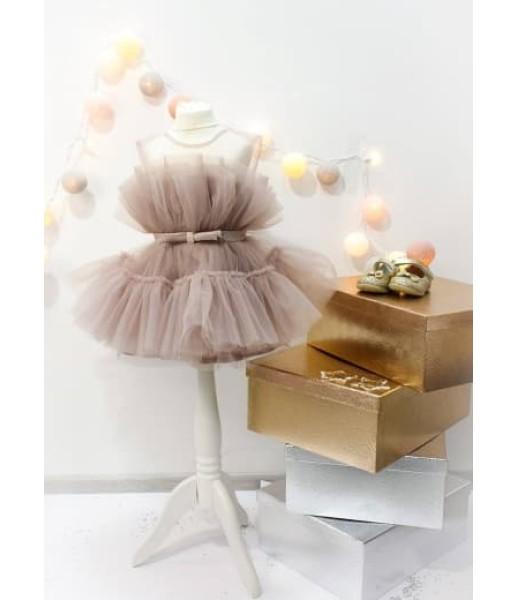 Детское нарядное платье Барби, цвет шампань