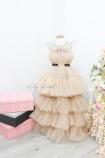Детское нарядное платье Барби со шлейфом, цвет бежевый