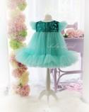 Детское платье Белль, цвет зеленая пайетка и мята