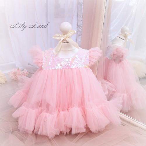 Детское платье Белль, цвет пудра с перламутровой пайеткой